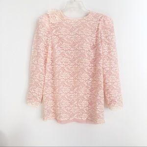 Floral Lace Light Pink/Peach Top Key Hole Back